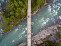 Bridge over Skykomish river in Washington state. An aerial view of a bridge over the Skykomish river, Washington state, USA Royalty Free Stock Image