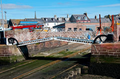 Bridge over the slipway. Arbroath Harbour, Arbroath, Angus, Scotland, UK. Bridge at Arbroath Harbour Royalty Free Stock Photo