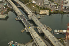 Bridge over Small Waterway. 1st Avenue Bridge in Seattle - Aerial View Stock Image