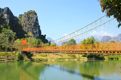 Bridge over Song River. Vang Vieng, Laos Royalty Free Stock Photography