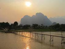 Bridge over Song river in Vangvieng. Laos Royalty Free Stock Images