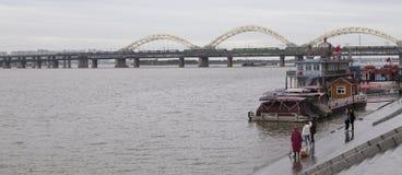 The bridge over songhua river in harbin,china. The bridge over songhua river is taken in harbin,china stock image