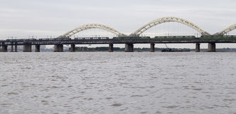 The bridge over songhua river in harbin,china. The bridge over songhua river is taken in harbin,china stock photos