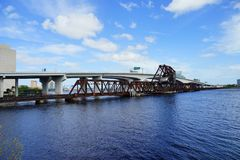 Bridge over st johns river. In Jacksonville downtown in Florida, USA Stock Photos