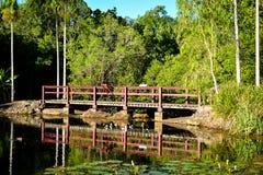 Bridge over still lake Royalty Free Stock Photos