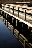 Bridge over a still pond Royalty Free Stock Photos