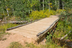 A bridge over a stream in the desert. A trail leading to a forest as seen at a high altitude in utah Stock Images
