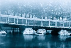 Bridge over the stream. Bridge over the river in winter Stock Photos