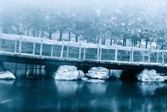 Bridge over the stream Stock Photos