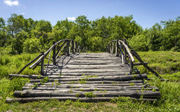 Bridge over a stream. Royalty Free Stock Photography