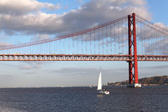 Bridge over Tagus in Lisbon, Portugal Stock Images