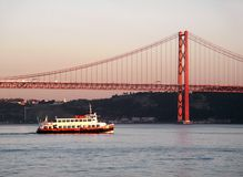 Bridge Over Tagus River Stock Photography