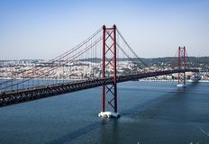 The bridge over the Tagus river in Lisbon. The longest bridge in Europe.  stock photos