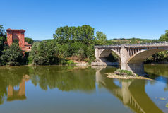 Bridge over Tanaro river in Italy. Royalty Free Stock Photo
