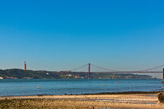 Bridge over the tejo stock images