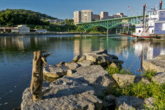 Bridge over the Tennessee River in Knoxville. Shoreline of the Tennesse River in Knoxville Stock Photo