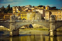 Bridge over the Tevere river. Rome, Italy. Toned image Royalty Free Stock Photos