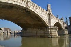 Bridge over Tevere river, Rome. One of the bridges over Tevere river in Rome Stock Photos