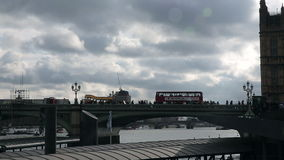 Bridge over Thames River near Westminster stock footage