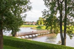 Free Bridge Over The Moat, In The Old Town In Fredrikstad, Norway Stock Photography - 100678402