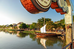 Bridge over Thu Bon in Hoi An, Vietnam. Hoi An is located on the coast of the South China Sea. Is recognised as a World Heritage Site by UNESCO. Market at night Stock Photo