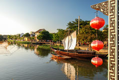 Bridge over Thu Bon in Hoi An, Vietnam. Hoi An is located on the coast of the South China Sea. Is recognised as a World Heritage Site by UNESCO. Market at night Royalty Free Stock Photos