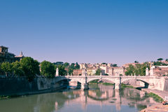 Bridge over the Tiber. Image take from the Ponte degli Angelli showing a stone bridge over the river Tiber in Rome stock photo