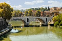 Bridge Over the Tiber River Stock Photos