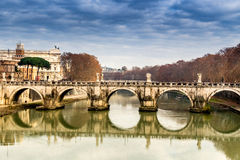 Bridge over the Tiber river in the center of Rome Royalty Free Stock Images