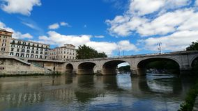 Bridge over the Tiber river Rome, Italy. stock footage