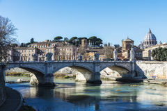 Bridge over the Tiber River in Rome, Italy Royalty Free Stock Photo
