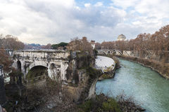 Bridge over the Tiber River in Rome, Italy Royalty Free Stock Photography