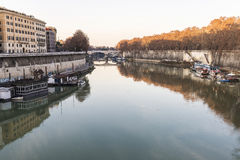 Bridge over the Tiber River in Rome, Italy Stock Photography