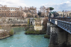 Bridge over the Tiber River in Rome, Italy Stock Photo