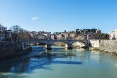 Bridge over the Tiber River in Rome, Italy Stock Photo
