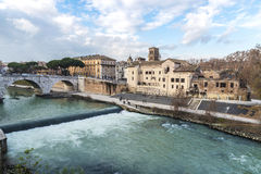 Bridge over the Tiber River in Rome, Italy Royalty Free Stock Image