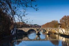 The bridge over the Tiber,. The bridge over the Tiber in Roma Stock Photo