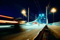 Bridge over Tver city. Bridge in Tver city, Russia, at night stock photo