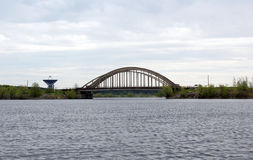 Bridge over the Uglich reservoir in the city of Kalyazin, Tver region, Russia Royalty Free Stock Photo