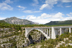Bridge over the Verdon Gorge, canyon in France, Provence Stock Photos