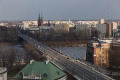 Bridge over Vistula river in Warsaw, Poland. View across Vistula river to the Praga district in Warsaw, Poland stock images