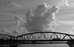 Bridge over the Vistula,  Torun, Poland, Toruń, Polska, Saint Catherine of Alexandria. Bridge over the Vistula in  Toruń, Poland with dramatic sunset clouds in Royalty Free Stock Images