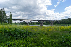 Bridge over the Volga River in the afternoon. Bridge over the Volga River under the clouds during the day stock photos