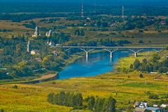 Bridge over the Volga River in the ancient Russian city Stock Photo