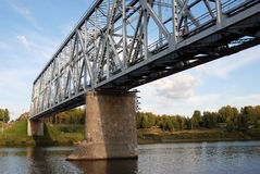 Bridge over the Volga river. Royalty Free Stock Image