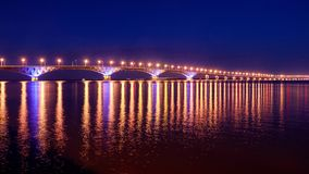 Bridge over the Volga River. The City of Saratov and Engels Royalty Free Stock Photo