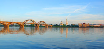 The bridge over the Volga River and the right bank of the Volga. Royalty Free Stock Photos
