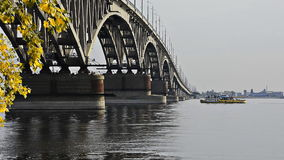 Bridge over the Volga River in Saratov stock footage