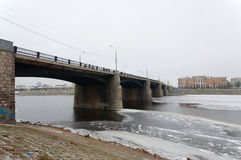 Bridge over Volga river Stock Photos