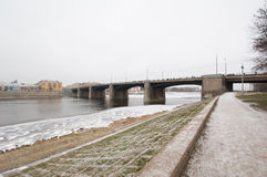 Bridge over Volga river Royalty Free Stock Image